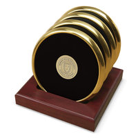 Murray State Round Coasters Set w/Wooden Stand - Gold Tone w/Leather Inlay & Academic Seal