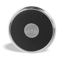 Murray State Round Coaster - Silver w/Leather Inlay & Academic Seal (Single)