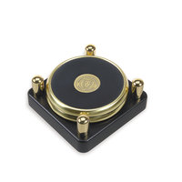 Murray State Round Coasters Set w/Black Tray - Gold w/Leather Inlay & Academic Seal (set of 2 coasters)