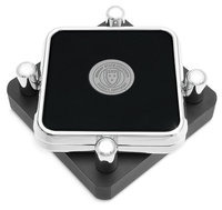 Murray State Square Coasters Set - Silver w/Leather Inlay & Academic Seal (set of 2 coasters)