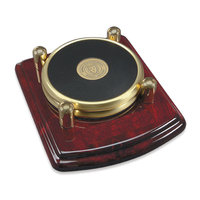 Murray State Round Coasters Set w/Wooden Tray - Gold w/Leather Inlay & Academic Seal (set of 2 coasters)