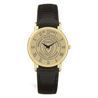 Murray State Men's Watch - Gold Academic Seal w/Black Leather Wristband & Round Casing