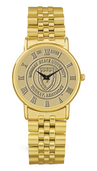 Murray State Men's Watch - Gold w/Rolled-Link Wristband & Academic Logo
