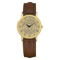 Murray State Men's Watch - w/Gold Academic Seal & Brown Leather Wristband w/Round Casing