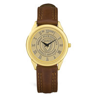Murray State Men's Watch - w/Gold Academic Seal & Brown Leather Padded Wristband