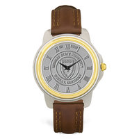 Murray State Men's 2-Tone Watch - Silver Academic Seal & Brown Wristband