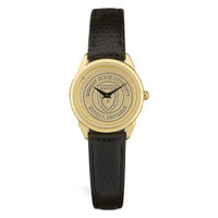 Murray State Ladies' Watch - Gold w/Black Leather Band & Academic Seal