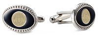 Murray State Cufflinks - Silver Oval w/Black Enamel Inlay & Academic Seal