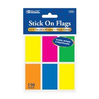 """BAZIC 25 Ct. 1"""" X 1.7"""" Neon Color Standard Flags"""