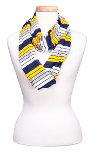 Tickled Pink Infinity Scarf - Navy/Gold/White/Gray Stripes