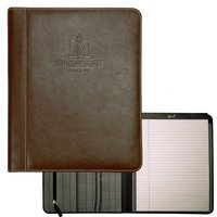 BROWN LEATHER PADFOLIO WITH JOCKEY HORSE