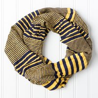 Tickled Pink Infinity Scarf - Navy/Gold a/Thin and Thick Stripes