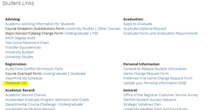 "Screenshot showing the textbook list link under the ""Student Links"" category"
